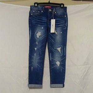 NWT Womens Union Bay Distressed Capris Size 0